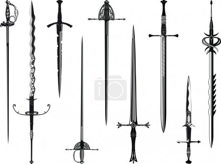 Simplified copy of my collection of swords isolate...