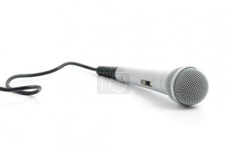 Photo pour Microphone couleur argent sur fond blanc - image libre de droit