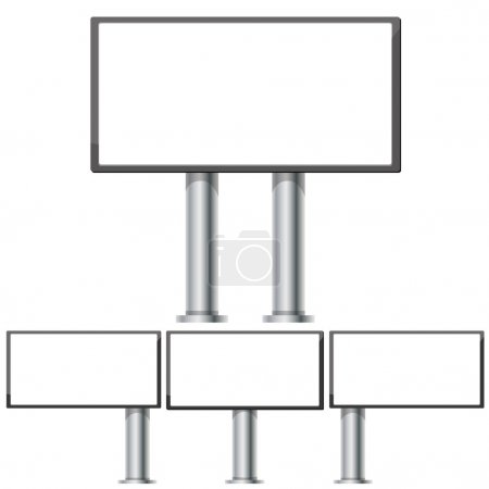 Illustration pour Ensemble de panneaux d'affichage publicitaire makets 6 x 3 sur les colonnes en acier, partie 2, illustration vectorielle - image libre de droit
