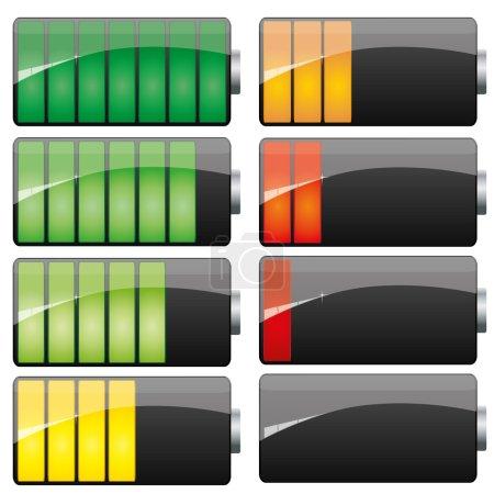 Illustration pour Ensemble de charge de batterie montrant les étapes de puissance faible et complète, vecteur - image libre de droit