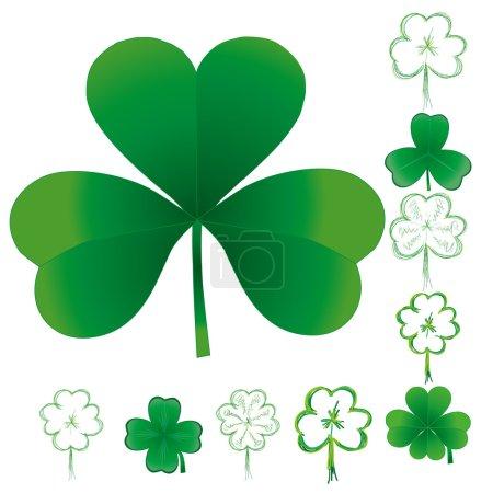 Set of clovers for St. Patricks day, vector illust...