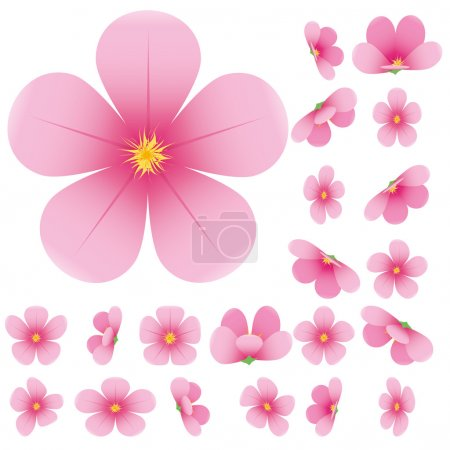 Illustration for Cherry blossom, flowers of sakura, set, pink, flowers collection,vector illustration - Royalty Free Image