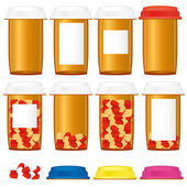 Set of prescription medicine bottles with colorful caps isolated on a white background vector illustration