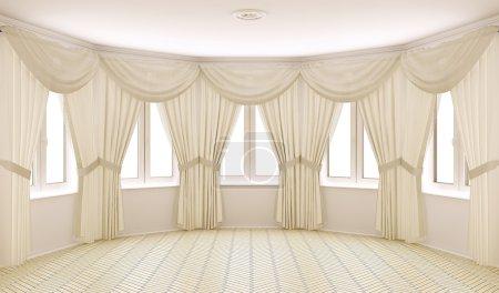 Photo pour Intérieur classique avec des rideaux (rendu 3d) - image libre de droit
