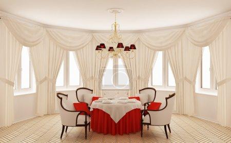 Photo pour Intérieur classique d'une salle à manger (rendu 3d ) - image libre de droit