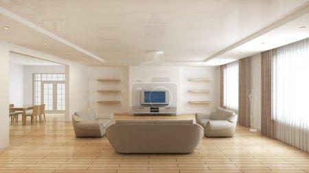 Photo pour Intérieur moderne d'une salle de dessin (rendu 3d) - image libre de droit