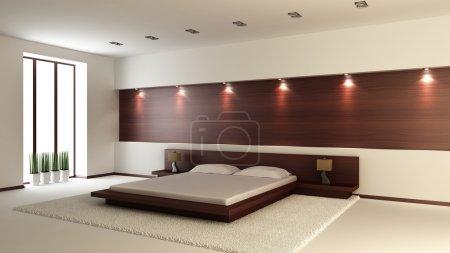 Photo pour Intérieur moderne d'une chambre à coucher (rendu 3d) - image libre de droit