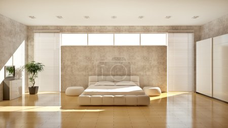 Photo for Modern interior of a bedroom (3d rendering) - Royalty Free Image