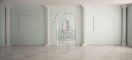 Photo pour Intérieur en style classique avec des colonnes - image libre de droit