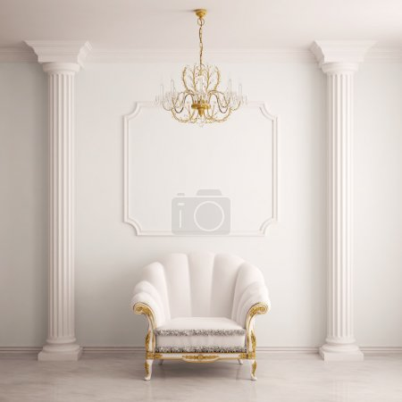 Photo for Classical interior with an armchair (3d rendering) - Royalty Free Image