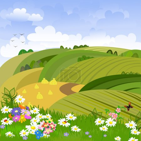 Illustration for Rural landscape with flower meadow - Royalty Free Image