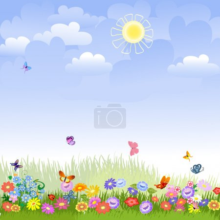Illustration for Lawn on a sunny day - Royalty Free Image