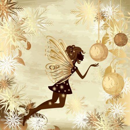 Illustration pour Noël fond grunge avec une fée - image libre de droit