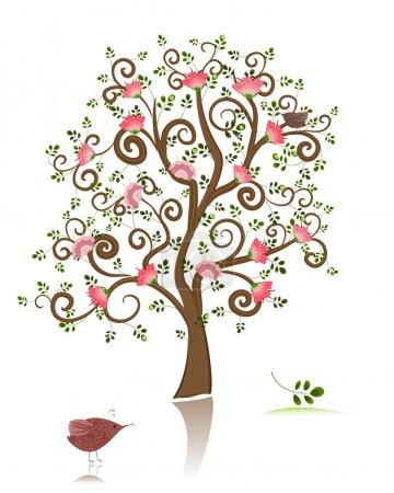 Illustration pour Arbre ornemental en fleurs - image libre de droit