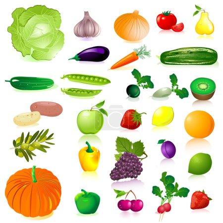 Illustration pour Légumes et fruits - image libre de droit