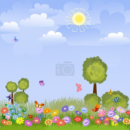 Illustration for Summer landscape with flowers - Royalty Free Image