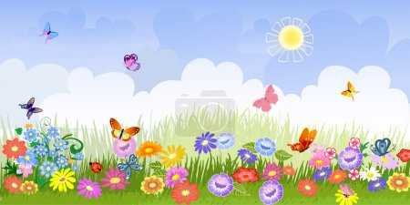 Illustration for Flower meadow panorama - Royalty Free Image