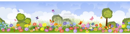 Illustration for Border seamless flower fields - Royalty Free Image