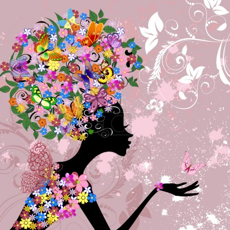 Illustration for Flower lady with butterflies - Royalty Free Image
