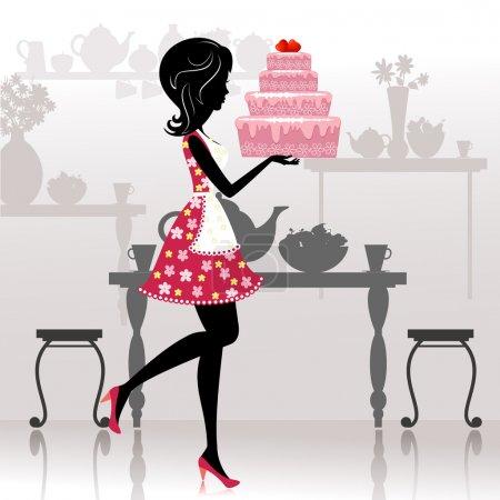 Ilustración de Chica con un pastel romántico - Imagen libre de derechos