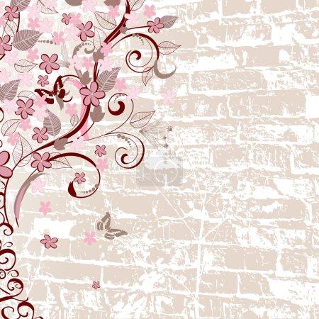 Illustration pour Bois vintage sur un mur de briques - image libre de droit