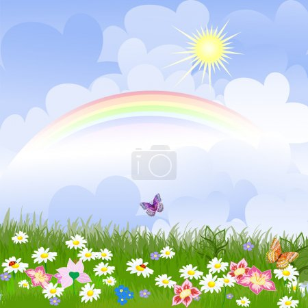 Illustration for Floral landscape with rainbow - Royalty Free Image