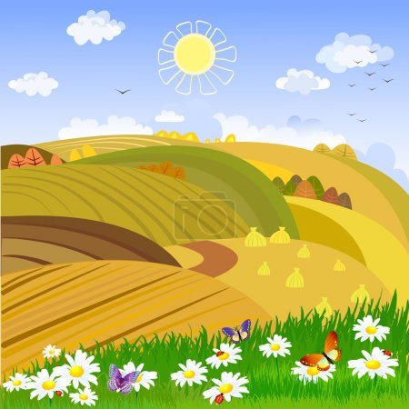 Illustration for Autumn rural landscape - Royalty Free Image