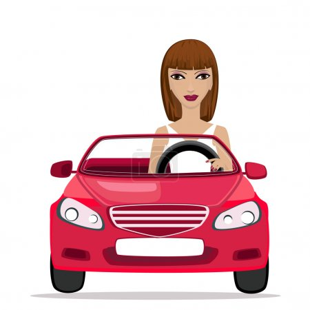 Woman in a red convertible