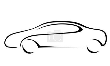 Illustration pour Silhouette de voiture pour emblème. Format vectoriel . - image libre de droit