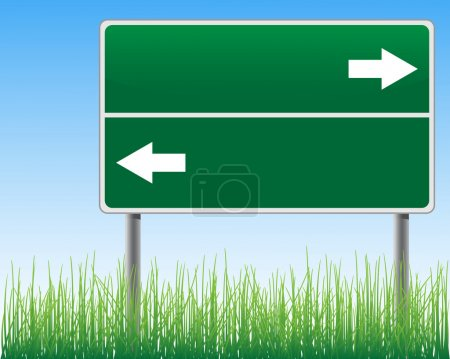 Empty signpost on sky background with arrows grass below.