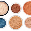 Set of 6 different rouge and eye shadow isolated o...