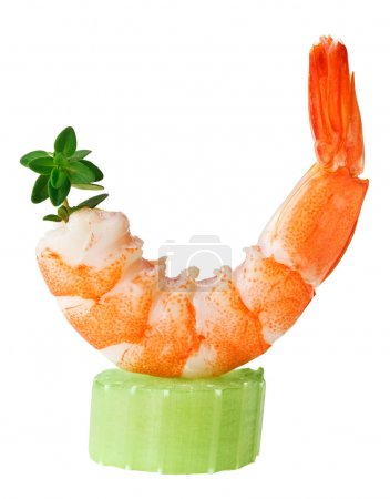 Shrimp canape with celery and thyme twig