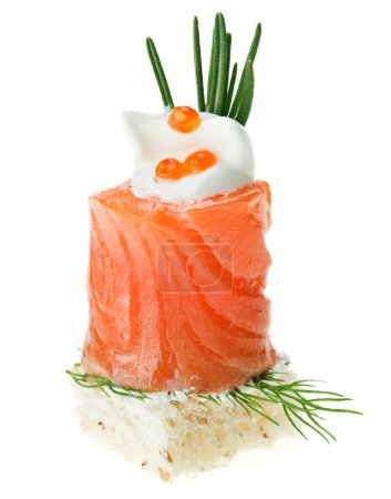 Photo for Elegant canape with salmon roll, toast, rosemary twig and caviar isolated on white - Royalty Free Image