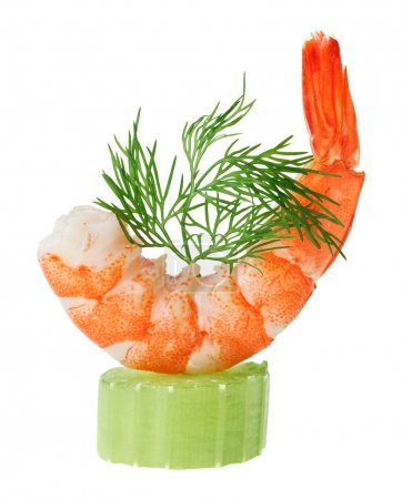 Shrimp canape with celery and dill twig