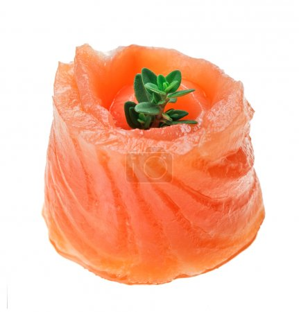 Red salmon roll with thyme twig