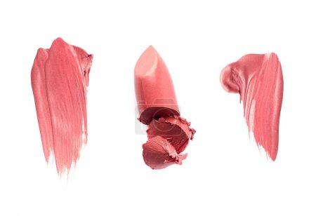 Photo pour Échantillons de rouge à lèvres ou de rouge à lèvres tachés isolés sur blanc - image libre de droit