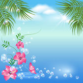 Marine landscape with palm trees flowers butterflies and clouds
