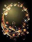 Pozadí s koulí, zlaté květy, hvězdy a bubliny