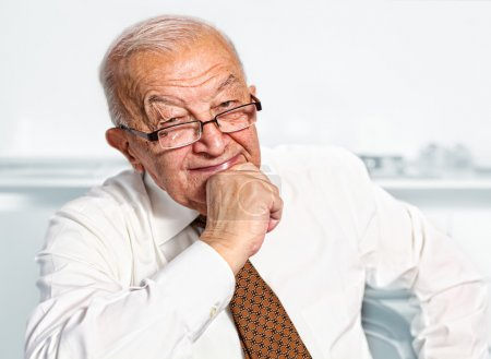 Photo for Smiling old caucasian man portrait - Royalty Free Image