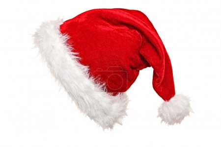 Photo for Traditional santa claus hat on white background - Royalty Free Image