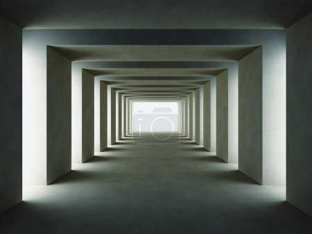 Photo for 3d image of dark tunnel with lateral lights - Royalty Free Image