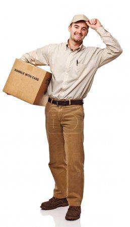 Photo pour Livraison amicale homme isolé sur fond blanc - image libre de droit