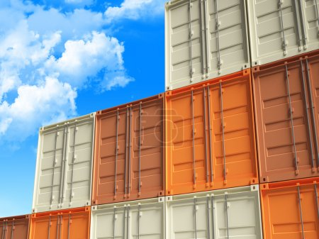 Photo for Fine 3d image of classic metal container and cloudy sky background - Royalty Free Image