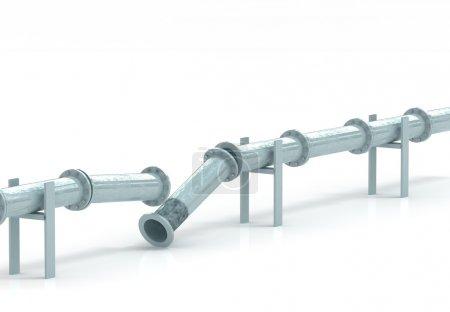 Photo pour Fine image 3d de pipeline cassé et fond blanc - image libre de droit
