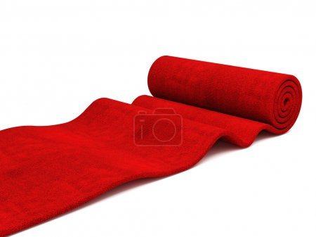 Photo for Classic rolling red carpet on white background - Royalty Free Image