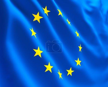 Photo pour Fine image 3d de l'Union europe drapeau fond - image libre de droit