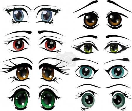 Illustration for The complete set of the drawn eyes animation cosmetics cartoon makeup doll - Royalty Free Image