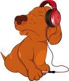 Dog and earphones
