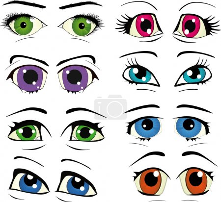 Illustration for The complete set of the drawn eyes makeup cosmetics - Royalty Free Image