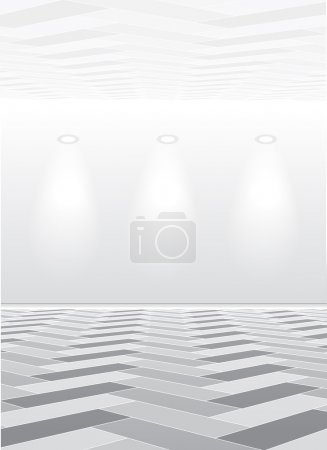 Illustration for Empty white room with lamp on gray background - Royalty Free Image